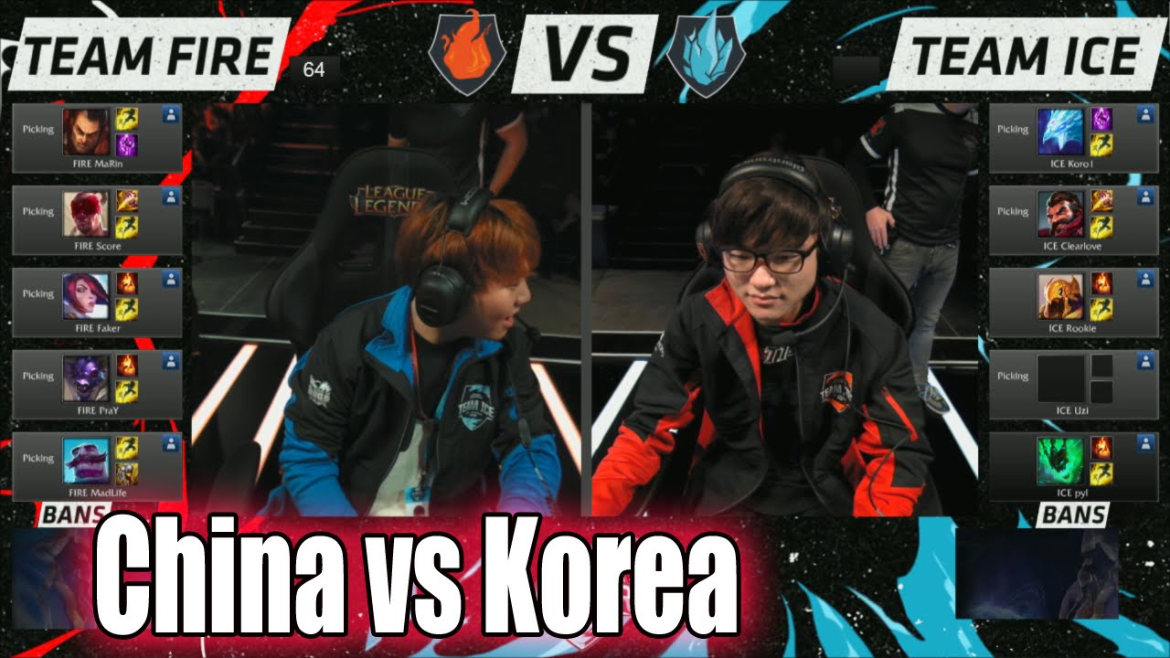 LCK vs LPL Pick 10 match | Day 1 All-Stars 2015 LoL in Los Angeles | Korea  (ICE) vs China (FIRE) - YouTube