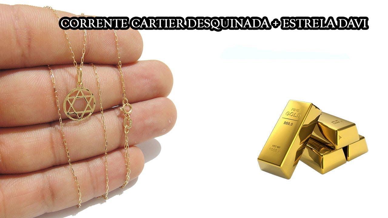 6f4a12b22e34d Corrente cartier masculina pingente estrela davi Ouro 18k. Studio Gold Joias