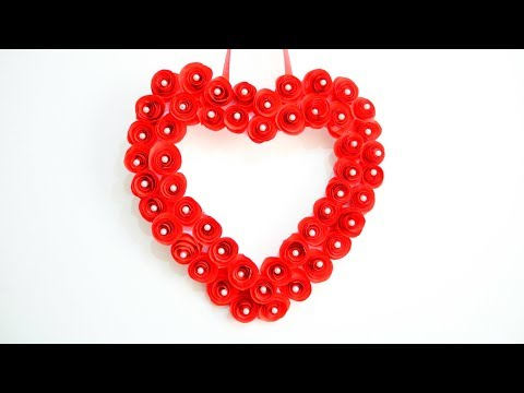 DIY HEART PAPER ROSES | Paper Heart Wall Hanging | Valentine's Day Crafts Ideas | EMMA DIY #30