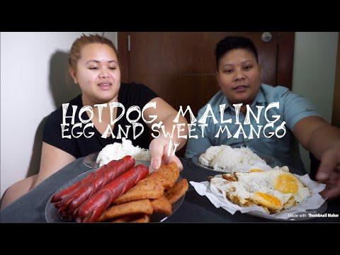 Hotdog, MaLing, Egg and Sweet mango for dessert | Filipino Food