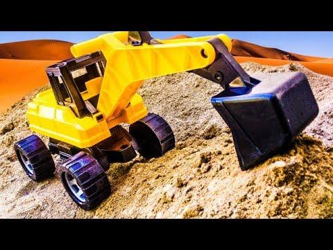 Видео для детей строительная техника. Экскаватор. Бульдозер. Самосвал. Трактор