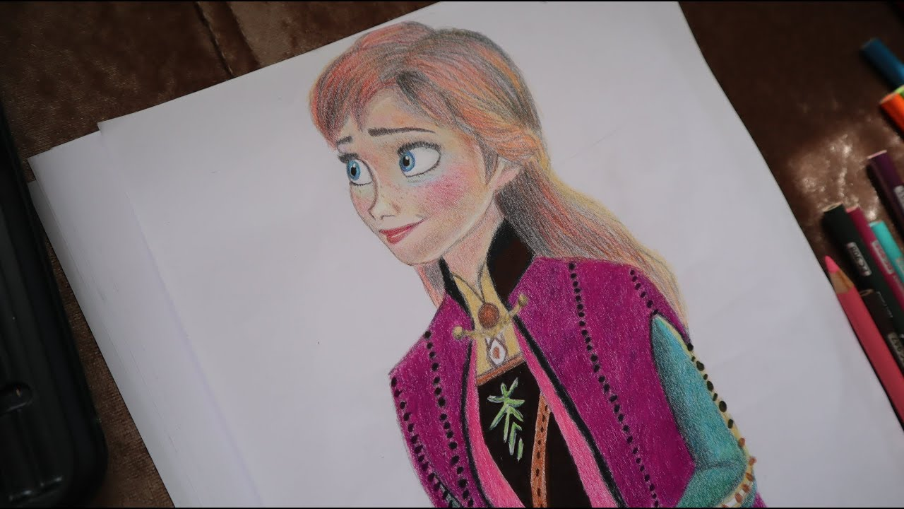 Karlar Ulkesi2 Anna Cizimi Drawing Frozen2 Anna Youtube