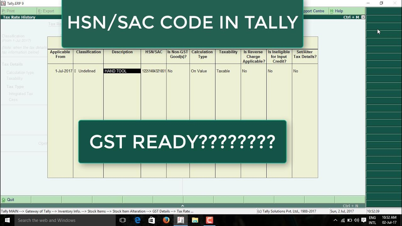 How To Enter Hsn Code In Tally Erp9 Tally Me Hsn Code Kaise Dale