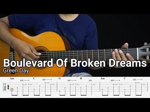 Boulevard Of Broken Dreams - Green Day - Fingerstyle Guitar Tutorial TAB