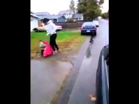Girl Rolls Up To Someone's House For A FIGHT But Gets BEAT UP