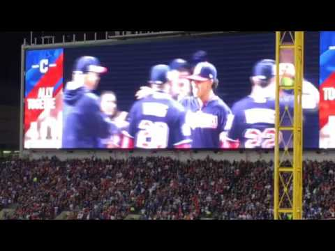 Indians player introductions at World Series Game 1