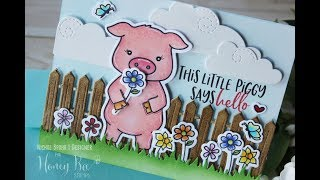Honey Bee Stamps   Pinky the Pig Hello Card