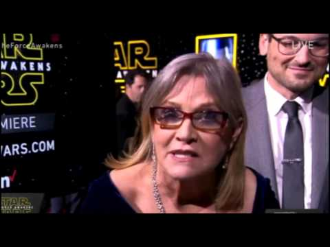 Carrie Fisher Oscar Isaac Swear ALOT on LIVE STREAM Star Wars The Force Awakens Red Carpet