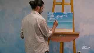 Райский морской пейзаж маслом, урок, мастер класс как рисовать маслом. Часть 2/3