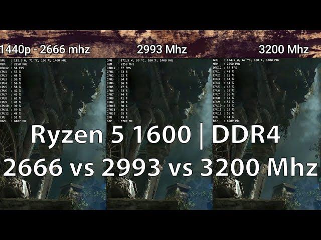DDR4 2666 vs 2933 vs 3200 Mhz RAM | Ryzen 5 1600 | 1080p & 1440p