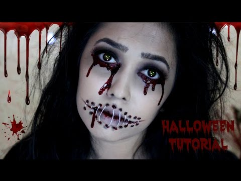 Stitched Mouth Halloween Makeup Tutorial | DIY Edible Fake Blood ...