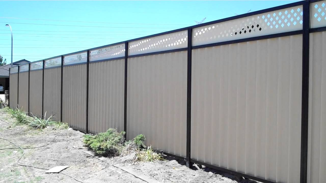 Colorbond fence with lattice youtube colorbond fence with lattice baanklon Choice Image