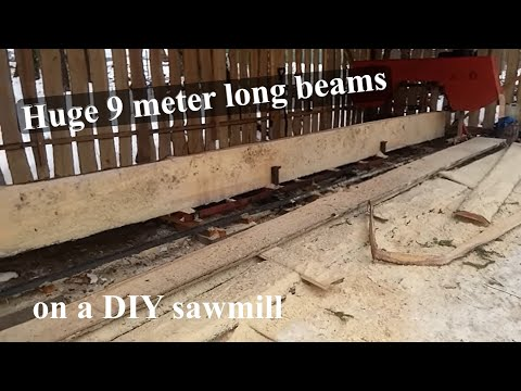 Cutting huge beams on a DIY bandsaw mill