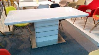 Купить глянцевый стол.  Стол раскладной ZARA Зара белый глянец
