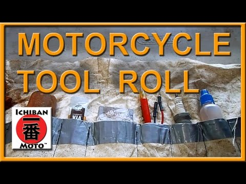 motorcycle tool kit roll and emergency parts with travel prepardness first aid kit