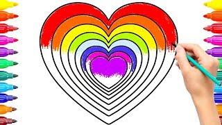 Draw Rainbow Hearts for Baby |Rainbow Heart Coloring Book Heart Coloring Pages #ColoringPainting -14