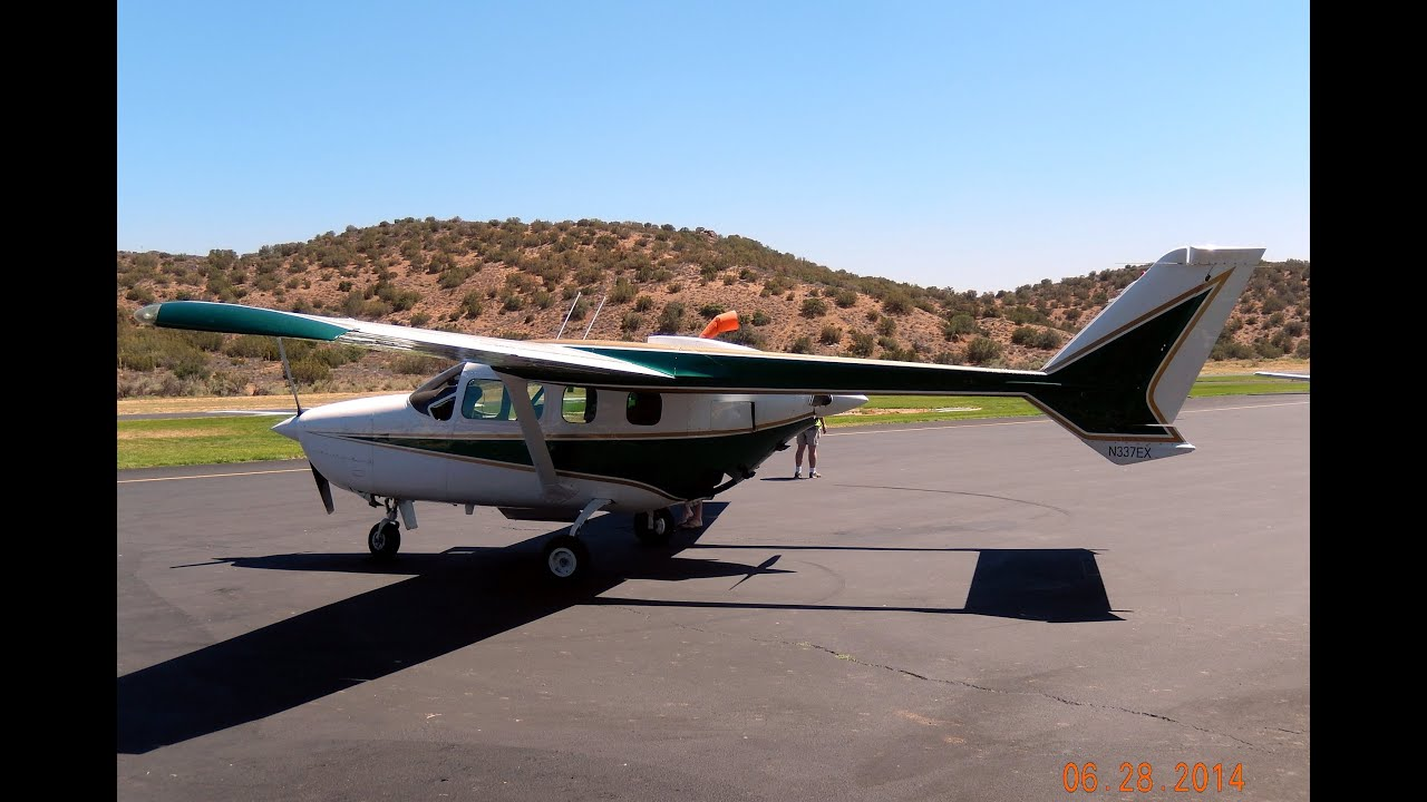 Flight in Cessna 337G Super Skymaster Engine Start Up,Taxi & Takeoff at  Agua Dulce Airport 2014