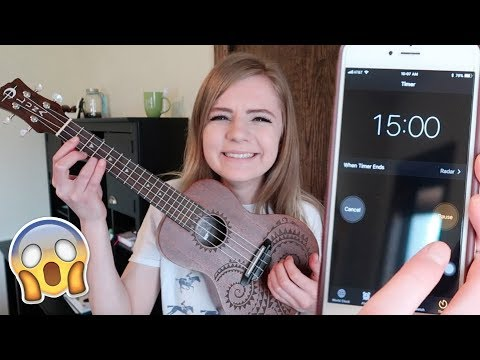 learning to play the ukulele UPSIDE DOWN in 15 minutes!! *challenge*