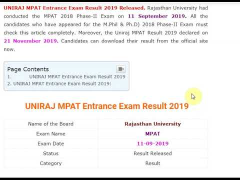 UNIRAJ MPAT Entrance Exam Result 2019 Released – Download for M.Phil & P...