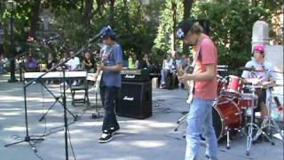 Teenage Rock Power Trio - Trone - Plays Rock Bottom at Washington Square Park, NYC, 8-20-10