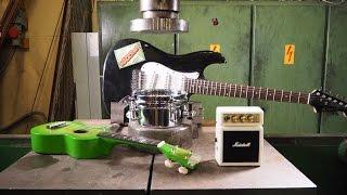 Crushing rock band stuff with hydraulic press
