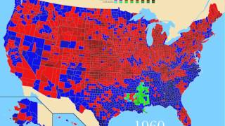 1908-2008: 100 Years TimeLapse - 25 Last United States Presidential Election Results by County