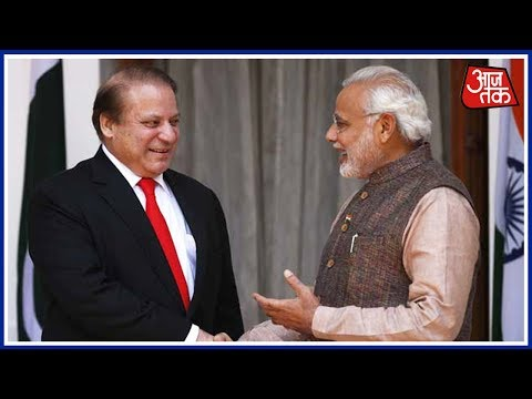 Narendra Modi greets Nawaz Sharif in Astana