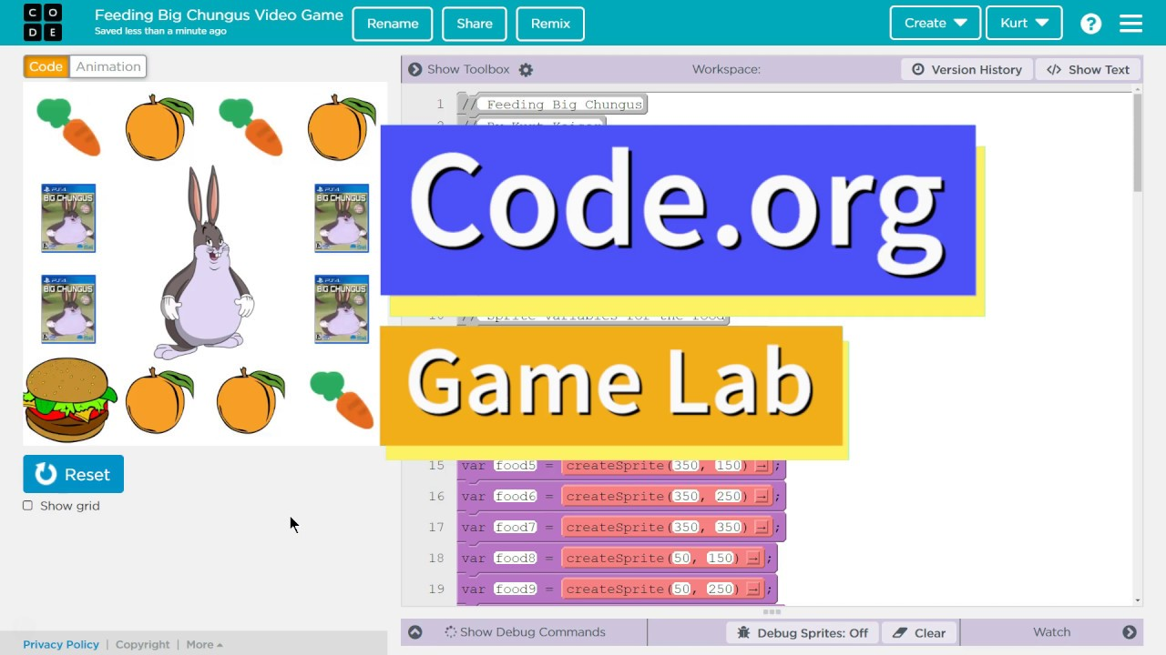 Code Your Own Big Chungus Video Game Using Code Org Game Lab