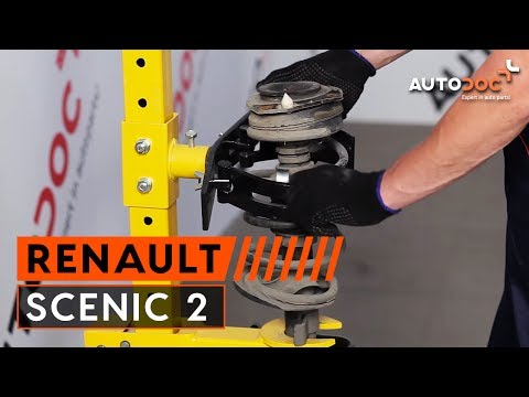 How to change a suspension strut repair kit RENAULT SCENIC 2 TUTORIAL | AUTODOC