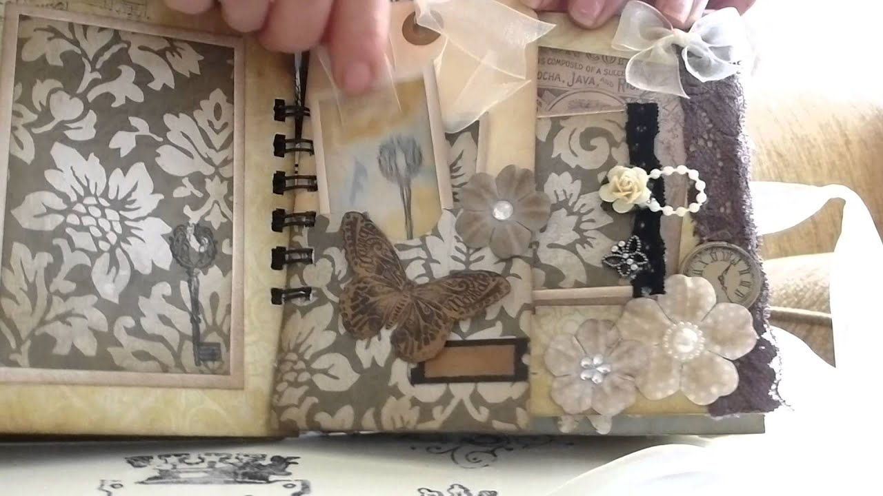 How to scrapbook wedding album - Vintage Shabby Chic Mini Album Journal Wedding