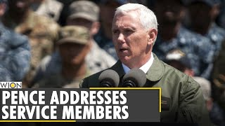 US Vice President <b>Mike Pence</b> addressed a crowd of service ...
