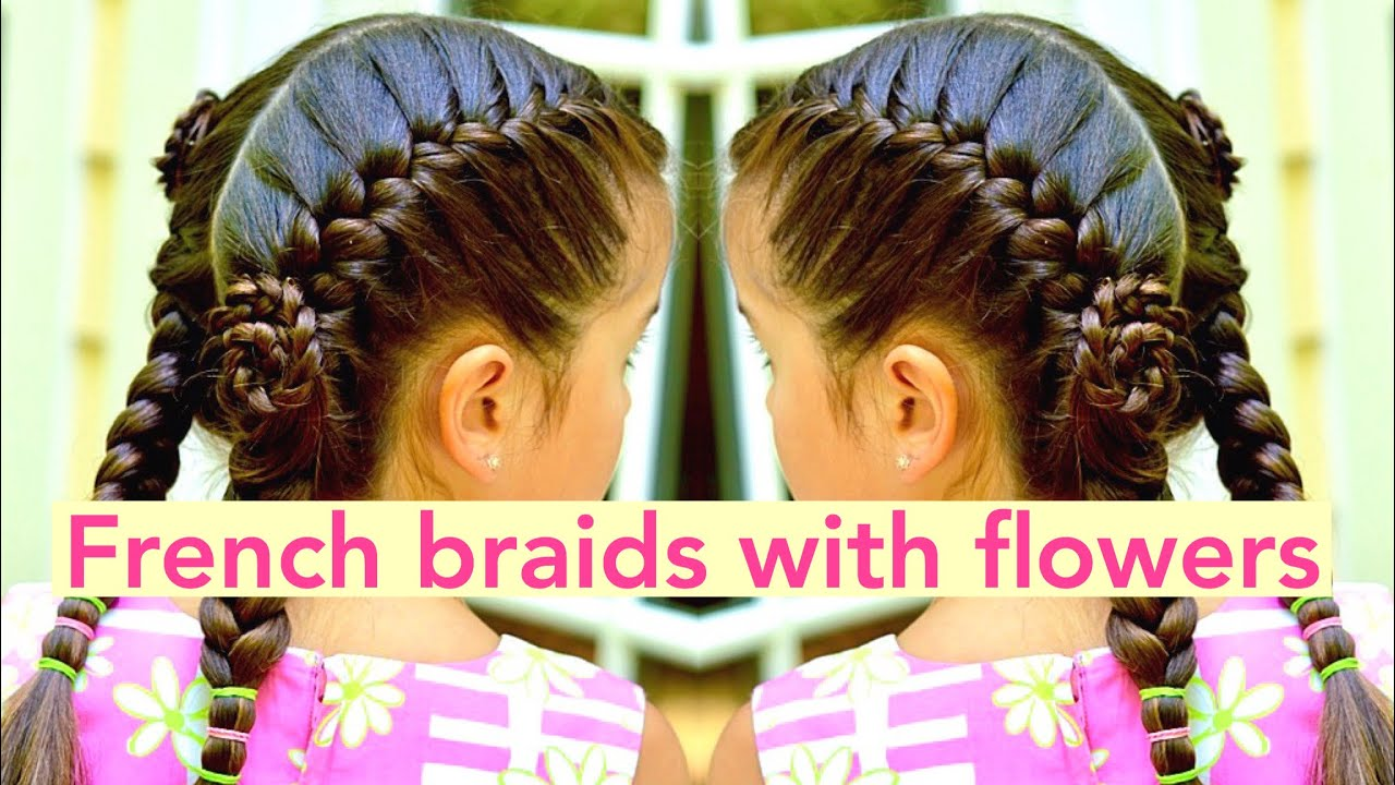 French braids with flowers