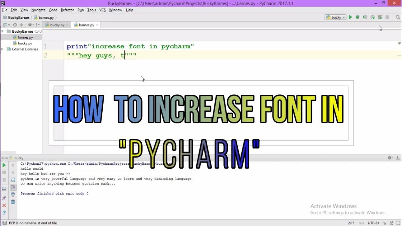 How to increase font in pycharm? - YouTube