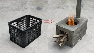 Great, the idea of making smoke free wood stoves from cement and plastic baskets