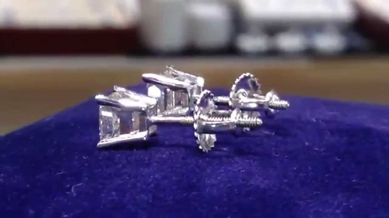 1 5 Carat Princess Cut Diamond Studs