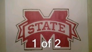How To Draw Mississippi State Logo Sign Easy Step By Step Tutorial For Begainners Kids
