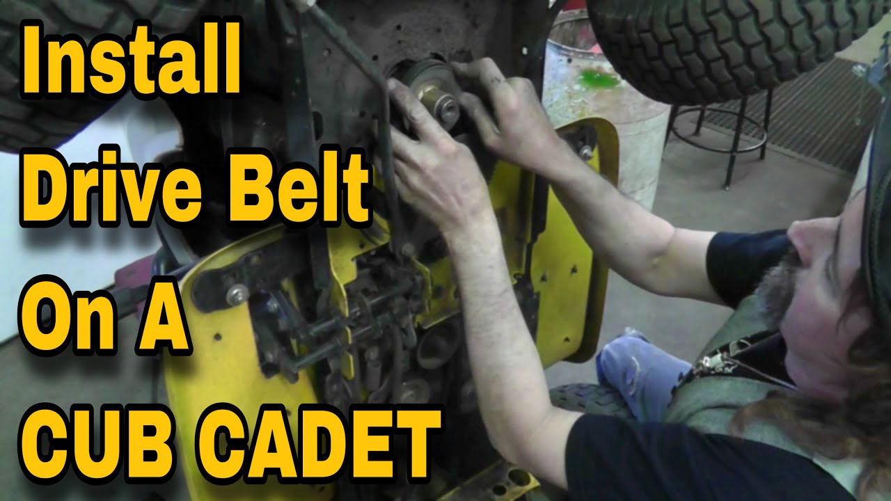 how to install or replace a drive belt on a lawn mower cub cadet [ 1280 x 720 Pixel ]