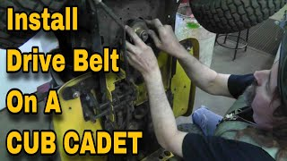 how to install or replace a drive belt on a lawn mower cub cadet