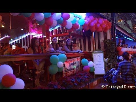 Pattaya Soi 8 Nightlife Girls and Ladyboys on Christmas Dec 25 HAPPY NEW YEAR 2014