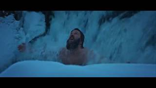 Xtreme cold body tempering in icy waterfall. Wim Hof (Iceman) method