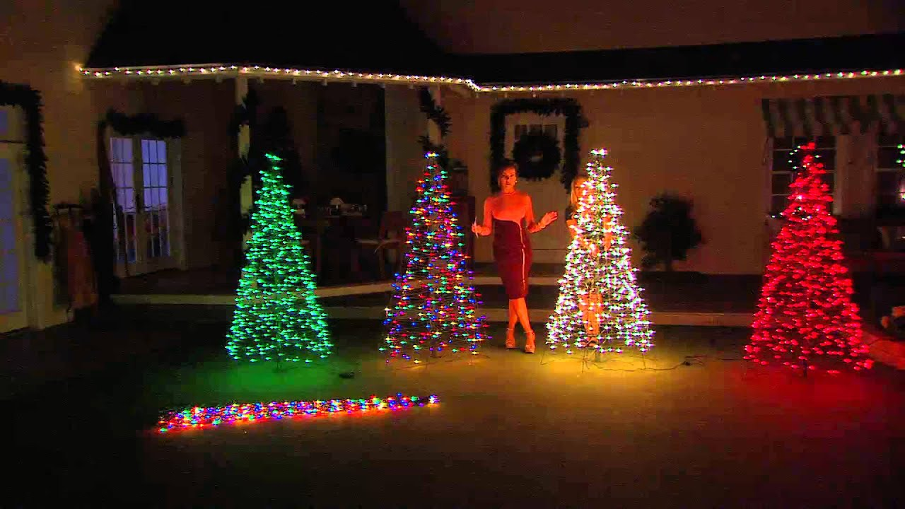 pre lit 6 fold flat outdoor christmas tree by lori greiner with lisa robertson youtube - Lighted Christmas Tree Yard Decorations