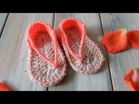 How to Crochet Baby Sandals FlipFlops - 0-6 months
