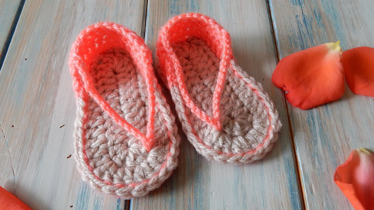 How to Crochet Baby Sandals FlipFlops - 0-6 months - YouTube