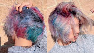 HAIRDRESSER DYES MY HAIR RAINBOW GALAXY!!! (insane hair transformation)