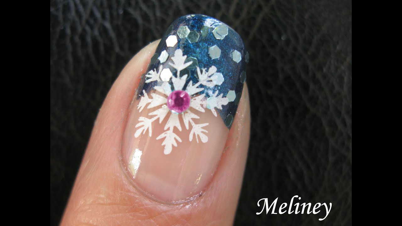 WINTER NAIL ART TUTORIAL | SNOWFLAKE BLUE SNOW SPRINKLE KONAD ...