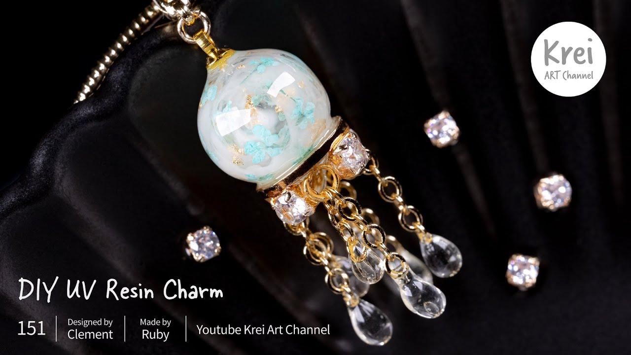 【モールドなしUV レジン】ドライフラワーを使って、DIYブレスレットチャーム〜♪UV Resin - DIY Bracelet Charm with Dried Flower.