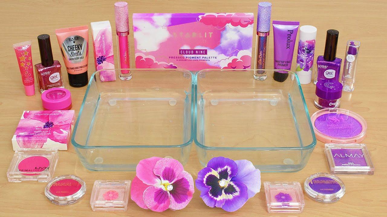 Download Pink vs Purple - Mixing Makeup Eyeshadow Into Slime ASMR 381 Satisfying Slime Video