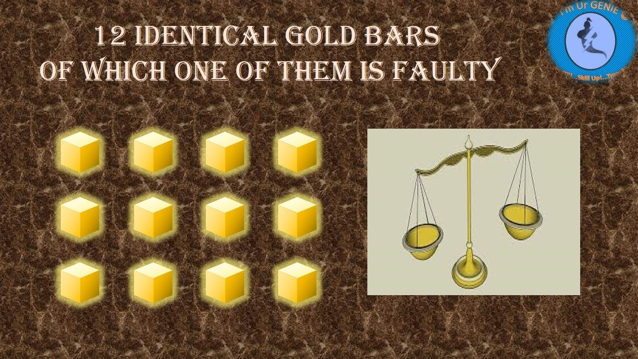 12 identical gold bar and one is faulty | #SkillUpwithGenie #Interviewquestion