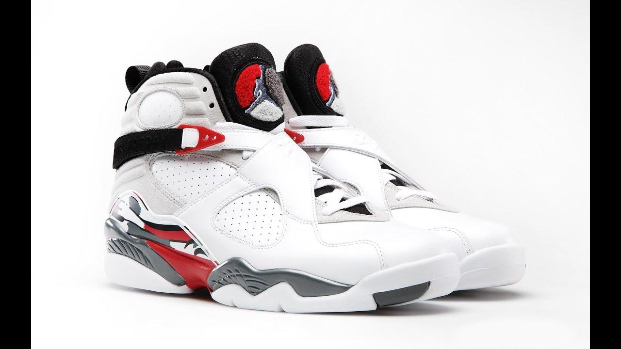 more photos 843d0 8e91c ... Jordan Retro 8 bugs bunny white grey red - YouTube ...