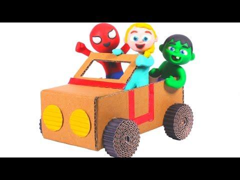 SUPERHERO BABIES BUILD A TOY CAR ❤ SUPERHERO PLAY DOH CARTOONS FOR KIDS
